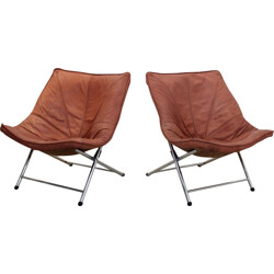 Set of 2 foldable low chairs designed by Teun Van Zanten for Molinari - 1970s