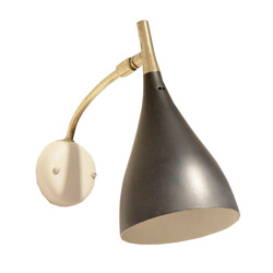 Black tulip wall lamp in brass and painted metal - 1950s
