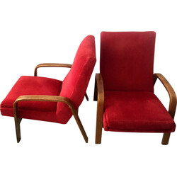 Pair of red armchairs by ARP for Steiner - 1950s