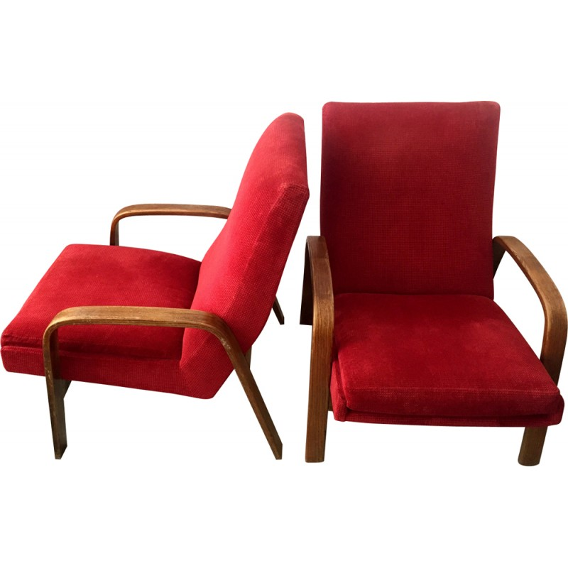 Pair Of Red Armchairs By ARP For Steiner   1950s