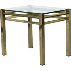 Brass and glass side table - 1970s