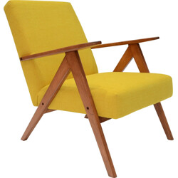 Yellow armchair with compass feet in teak - 1970s