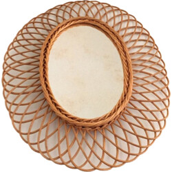 Vintage sun-shaped oval mirror in rattan - 1950s
