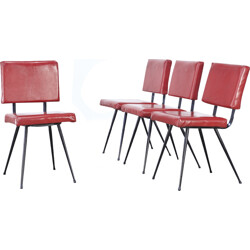 Set of 4 red dining chairs in skai produced by Brabantia - 1970s