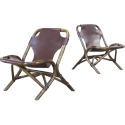 Pair of brown low chairs in leather and bamboo - 1980s