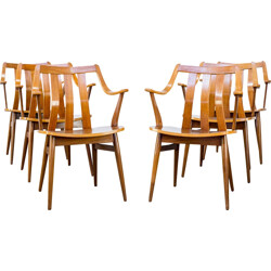 Set of six plywood dining chairs - 1960s