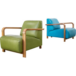 "Pair of Hugo de Ruiter ""hemingway"" lounge chairs for Leolux - 2000s"