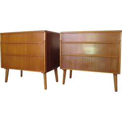 Pair of chest of drawers in teak and poplar - 1960s
