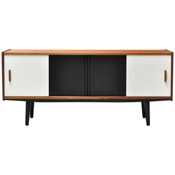 Teak sideboard with four black and white sliding doors - 2000s
