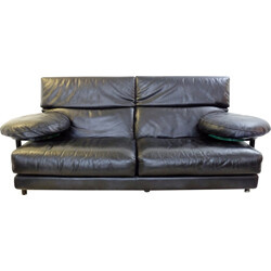 Black leather sofa by Paolo Piva for B&B Italia - 1980s