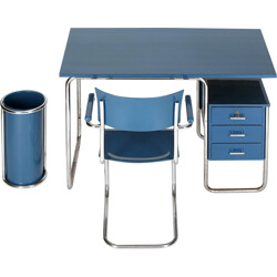 Blue Tubular Steel Office Set - 1930s