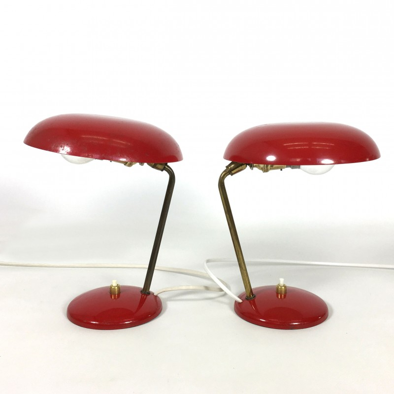 Pair Of Red Bedside Lamps 1960s