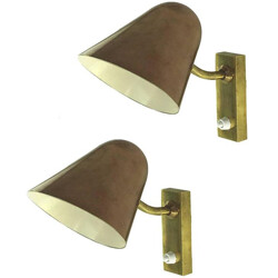 Pair of copper and bronze  conical wall lamps - 1940s