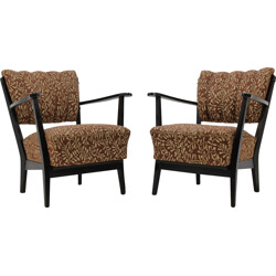 Pair of Czech Armchair with original brown upholstery - 1950s