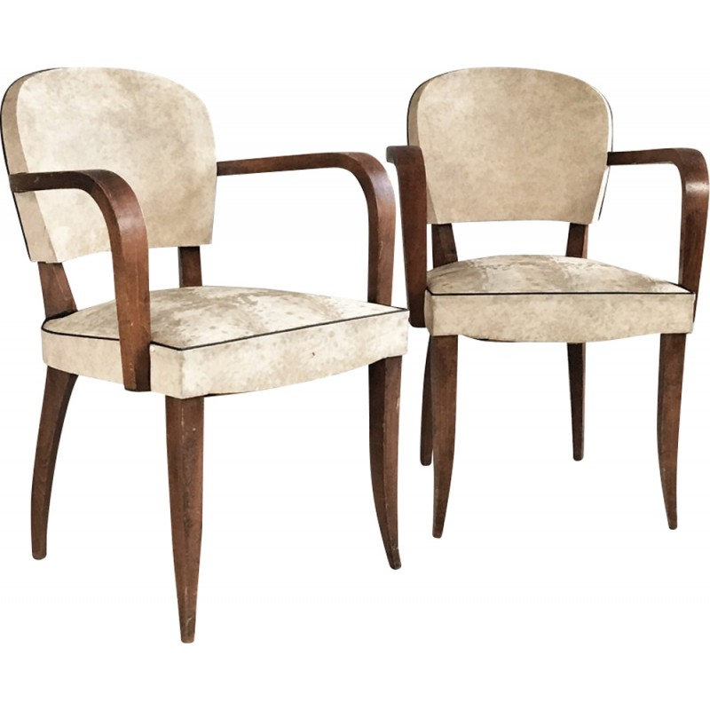 Pair of vintage Belgian white vinyl chairs - 1960s  sc 1 st  Design Market & Pair of vintage Belgian white vinyl chairs - 1960s - Design Market