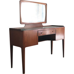 French vintage rosewood dressing table with brass detailing - 1960s