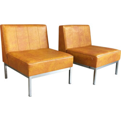 Pair of vinyl and chrome reception chairs - 1970s
