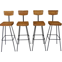 Set of 4 Rattan Bar Stools - 1950s