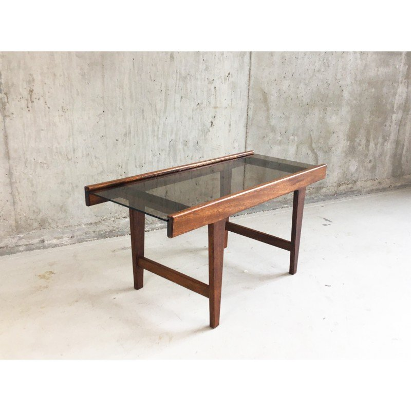 Mid Century Solid Oak And Gl Small Coffee Table 1960s Design Market