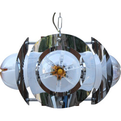 Murano chandelier with 4 orange and white globes by Mazzega - 1990s