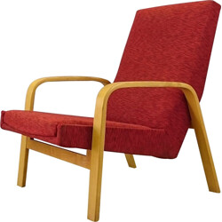 Mid-century armchair in curved wood and tissu by A.R.P for Steiner - 1950s