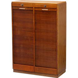 Filing cabinet with two curtains in oak - 1960s