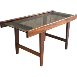 Mid century solid oak and glass small coffee table - 1960s