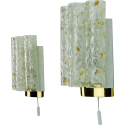 Pair of wall lamps with 4 glass tubes produced by Doria - 1960s