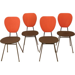 Set of 4 chairs with red and black compass feet - 1960s