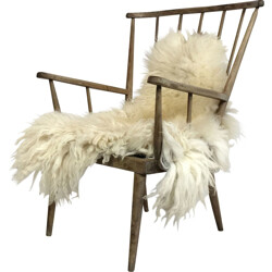 Armchair in solid wood grayed due to time - 1960s