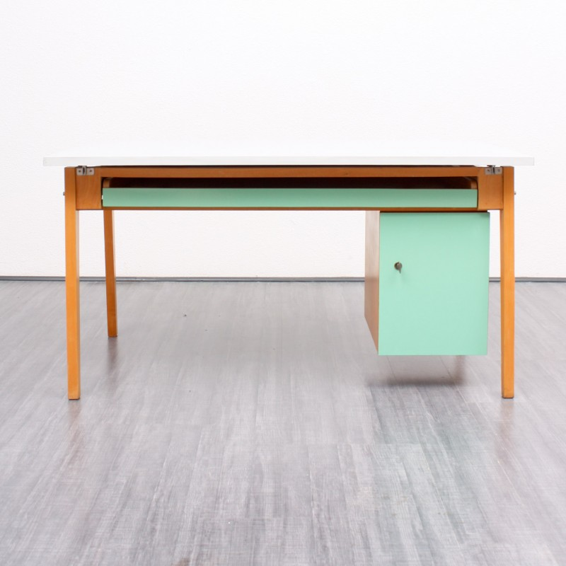 desk in solid beech wood with a green mint and grey