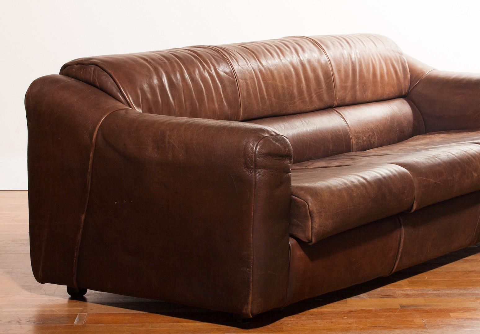 Buffalo leather 3-seater sofa - 1970s - Design Market