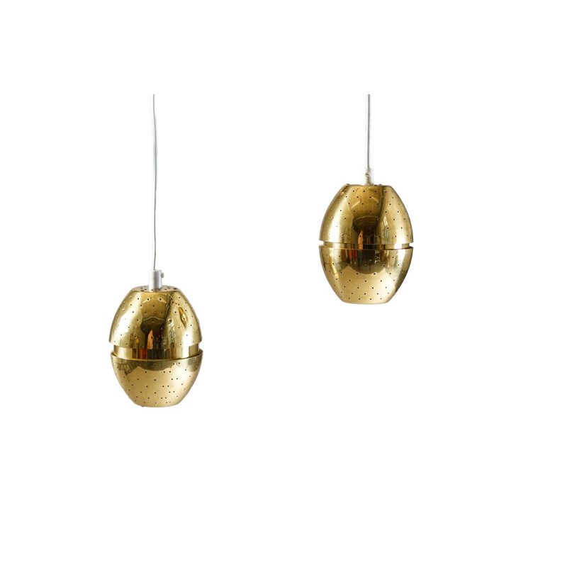 Swedish pendants in perforated brass by Hans-Agne Jakobsson - 1960s