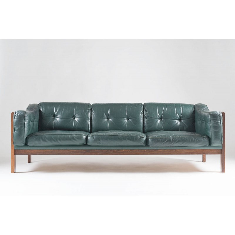 Scandinavian Rosewood And Green Leather Sofa Ingvar Stockum