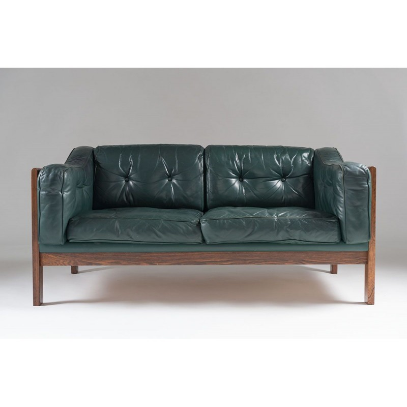 Scandinavian Rosewood And Leather Sofa Ingvar Stoc 1960s Design Market
