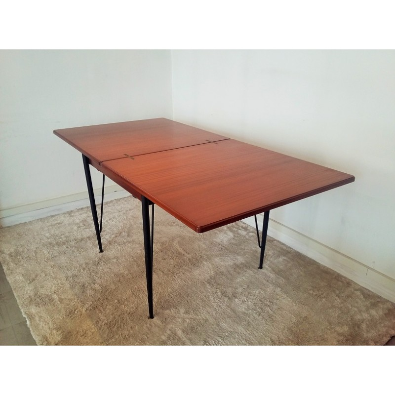 Dining Table In Mahogany And Metal For 1 To 8 People 1950s
