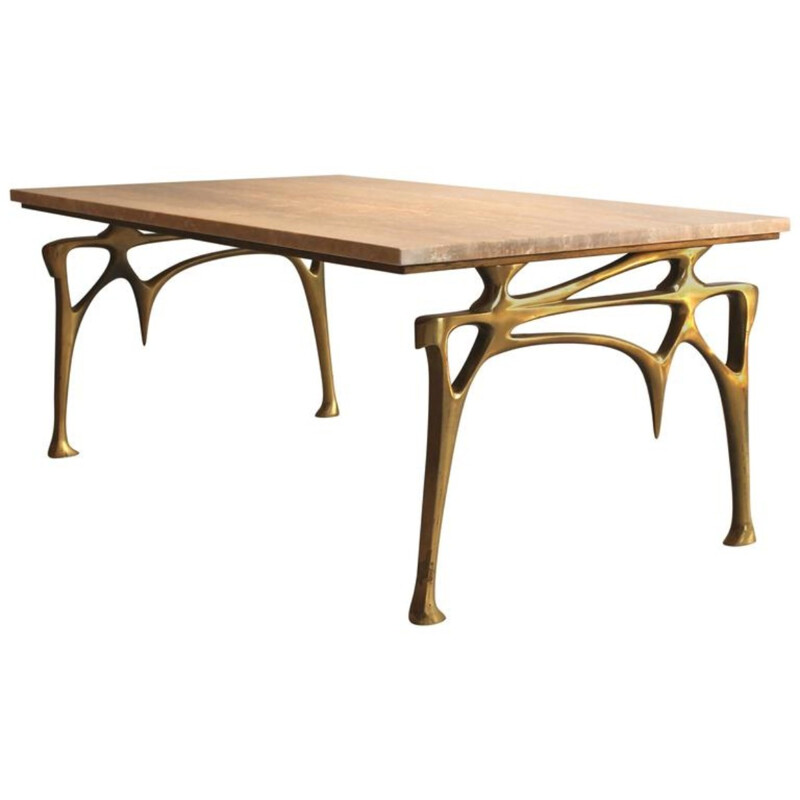 Willy Daro coffee table in golden bronze - 1970s