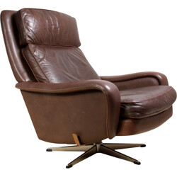 Danish Leather reclining Swivel Man Cave Chair - 1970s