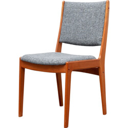 Set of 4 dining chairs, teak, reupholstered -1960s
