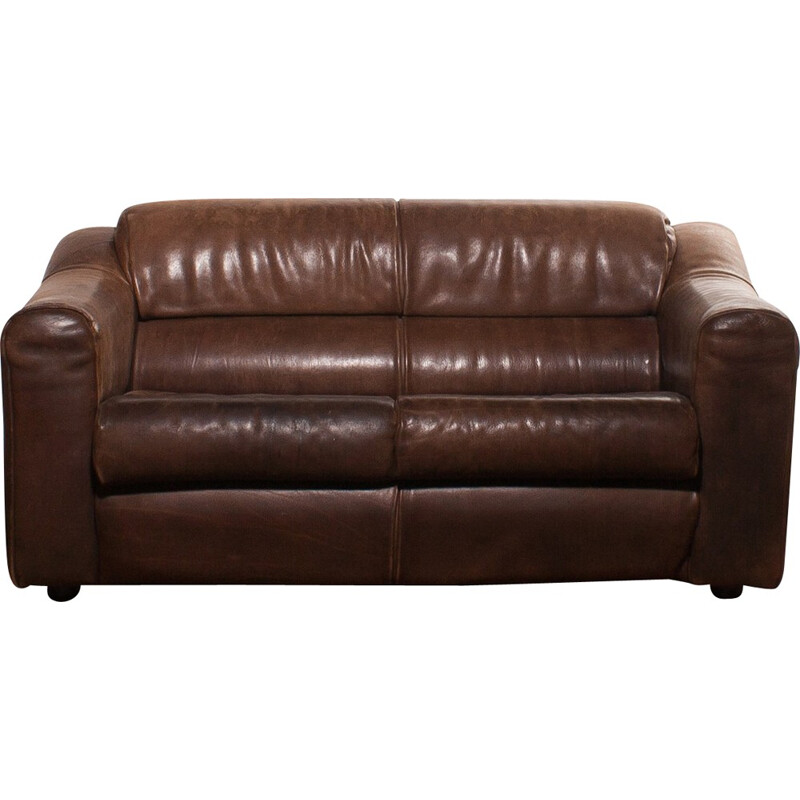 Buffalo leather 2-seater sofa - 1970s