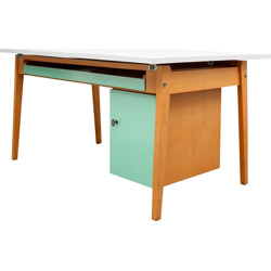 Large desk in solid beech wood with a green mint and grey coating - 1950s