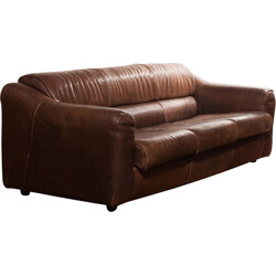Buffalo leather 3-seater sofa - 1970s