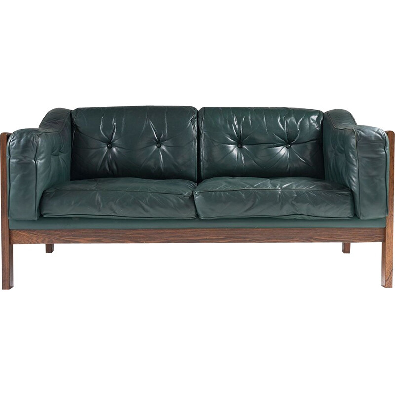 Scandinavian Rosewood and Leather Sofa Ingvar Stockum -1960s