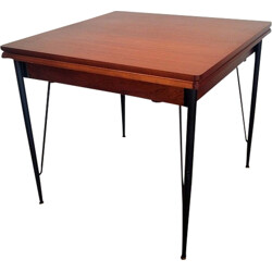 Dining table in mahogany and metal for 1 to 8 people - 1950s