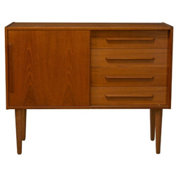 Scandinavian sideboard in teak with 4 drawers and 1 sliding door - 1960s