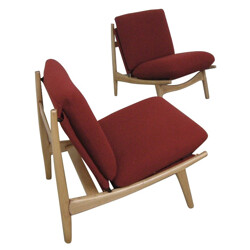 Pair of low chairs, Joseph-André MOTTE - 1960s