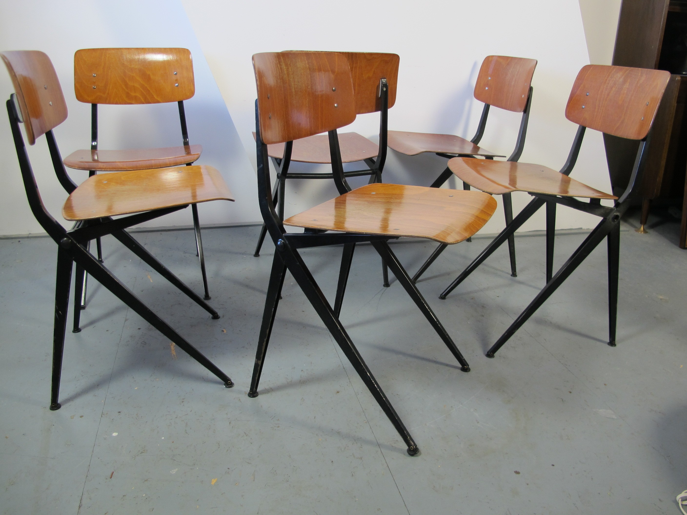 A set of 6 mid century industrial dining chairs by Ynske Kooistra
