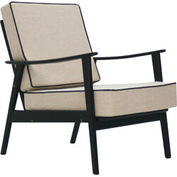 Black and cream reupholstered easy chair - 1960s