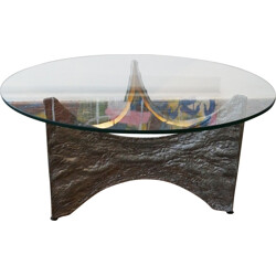 Brutalist coffee table in tin and glass - 1960s