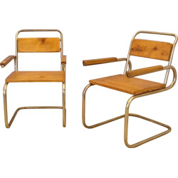 Pair of armchairs in wood and brushed steel -1940s